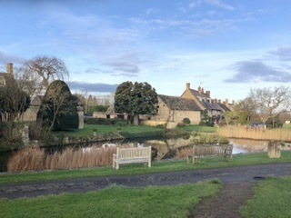 The village green Willersey, on adventures in our van blog